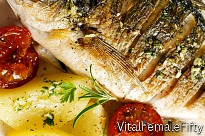 Sea bass with potatoes and herbs